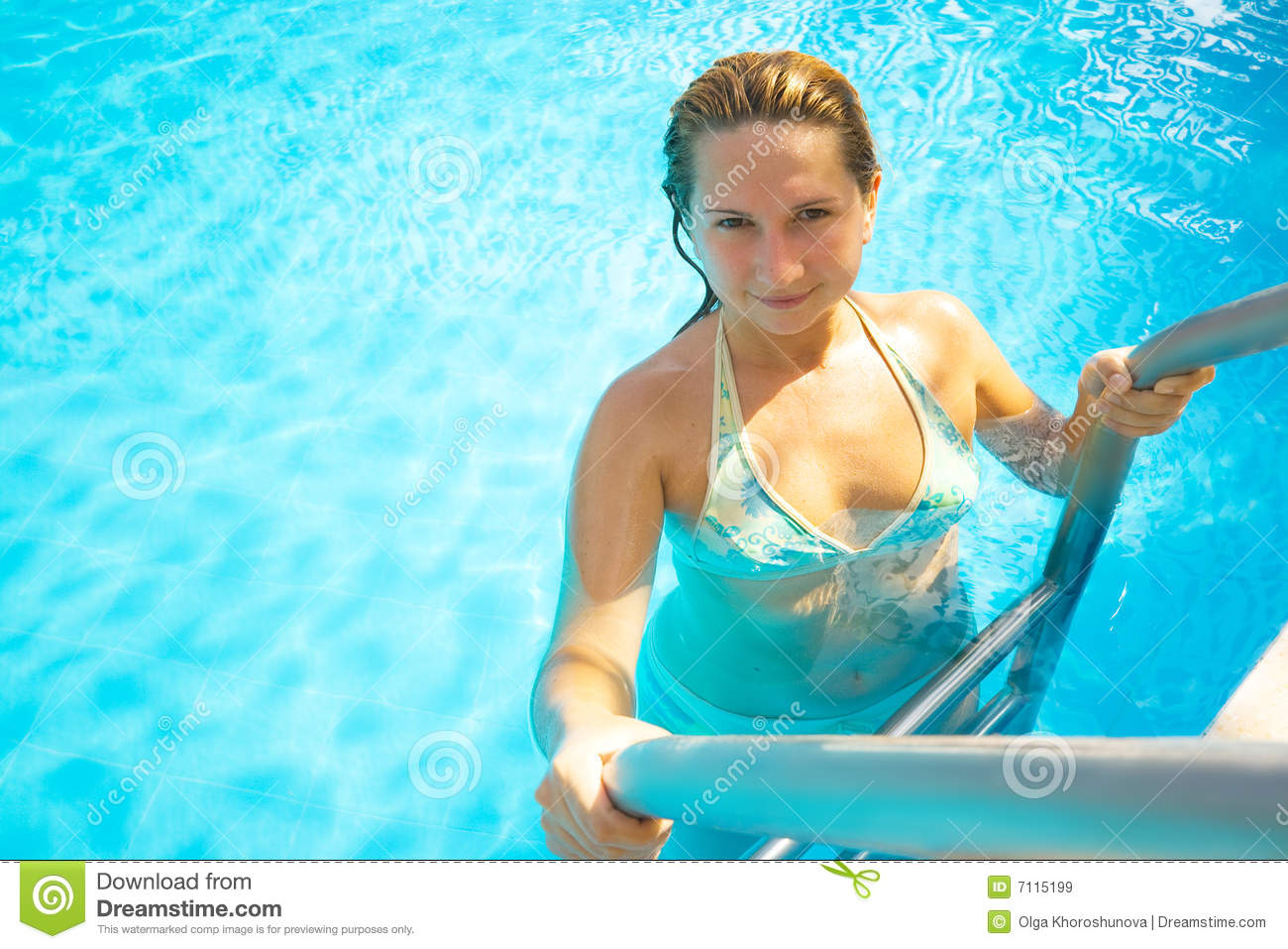 woman in swimming pool stock image image of relaxation 7115199