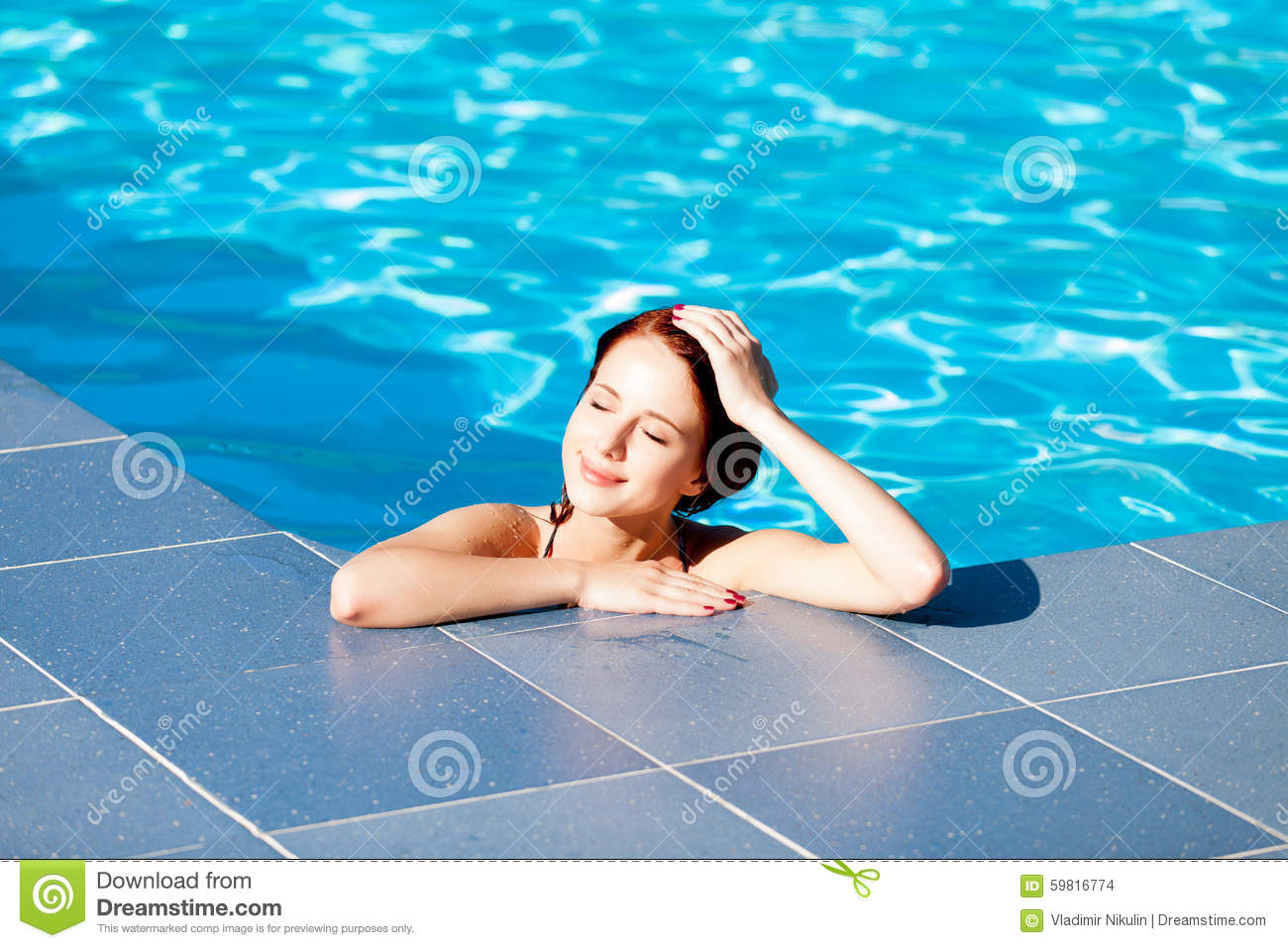 Woman at swimming pool stock photography cartoondealer Swimming pool beautiful