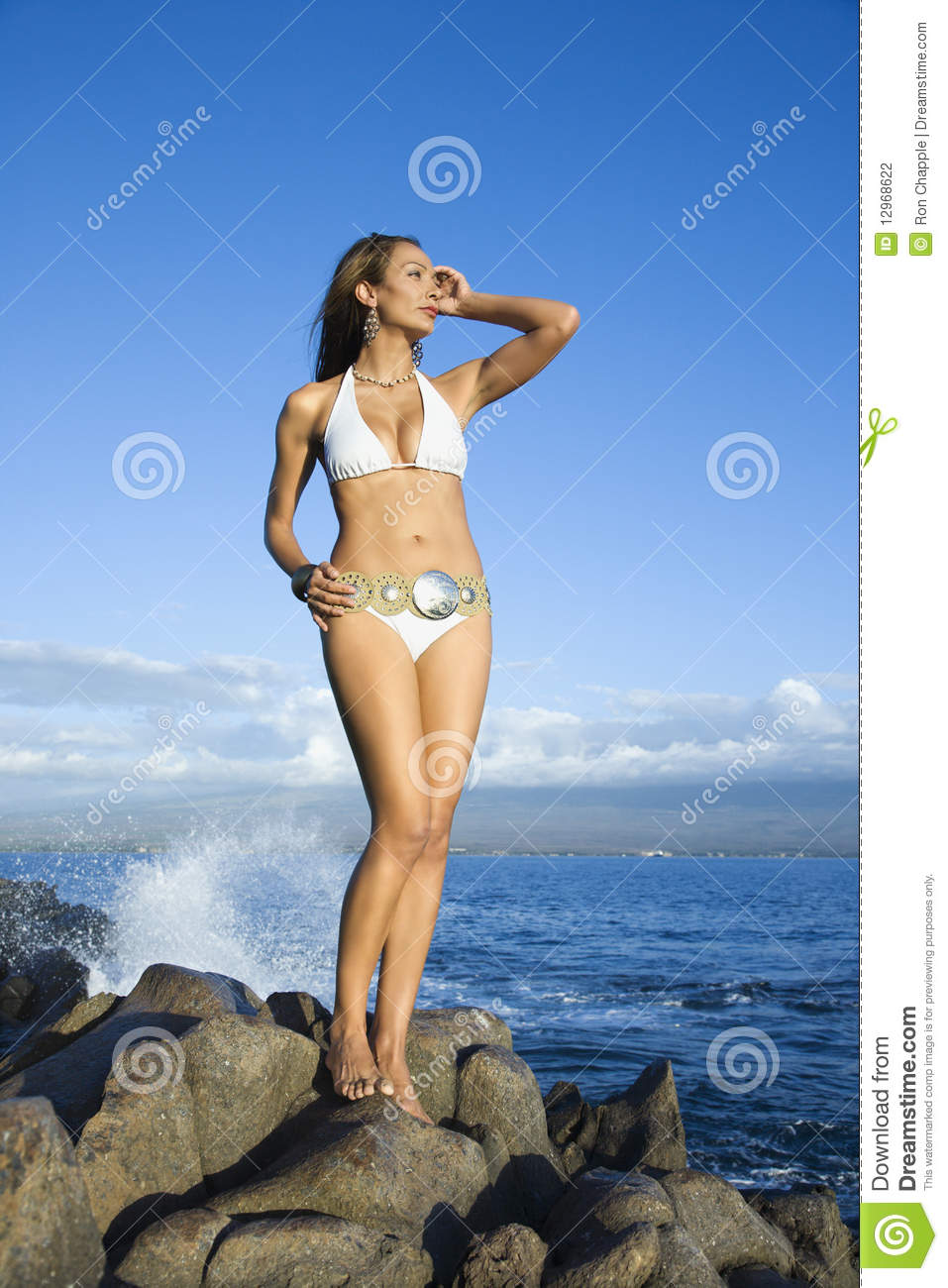 Woman In Swimsuit Standing On Beach Stock Photography