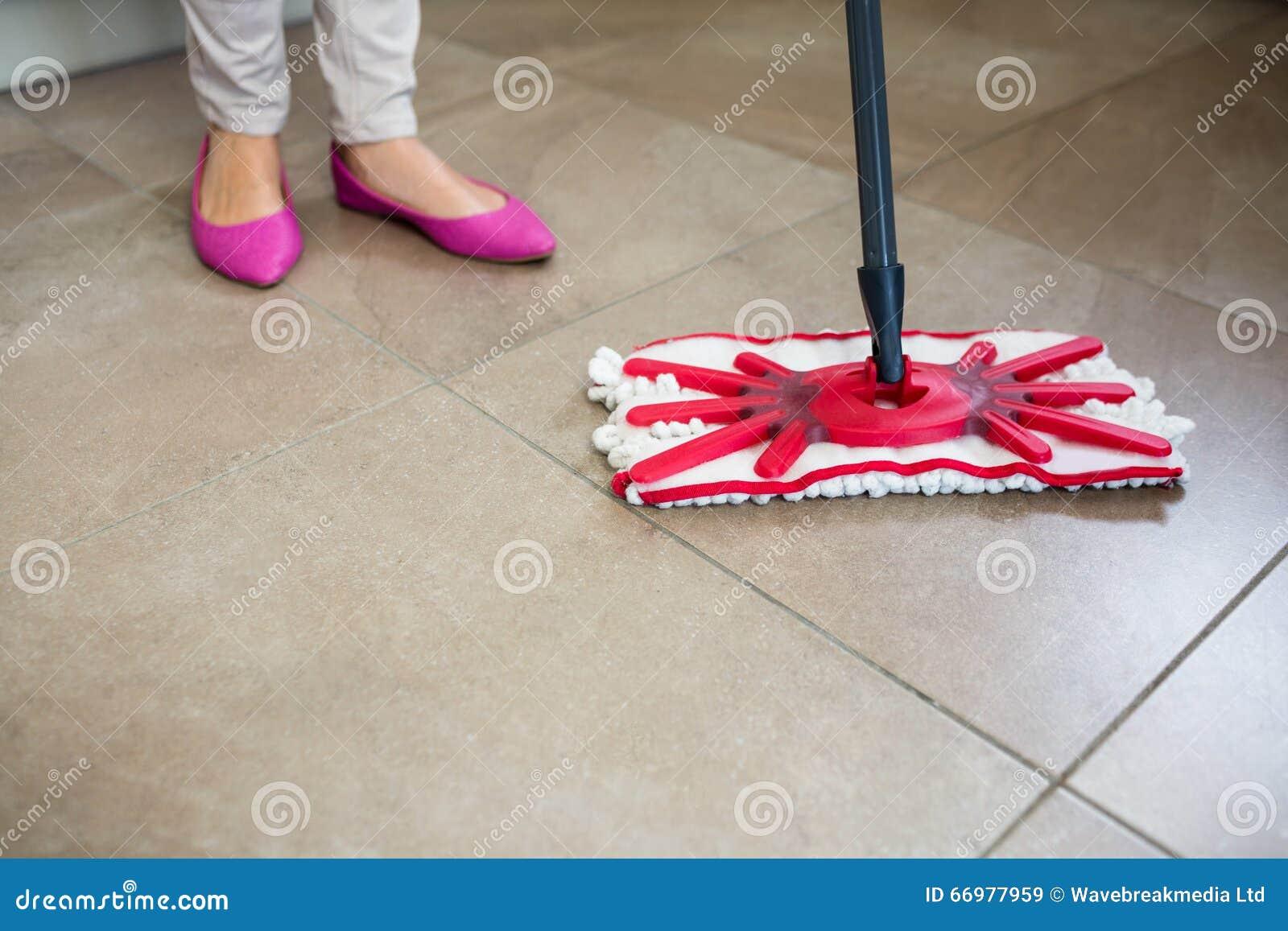 Kitchen Floor Mops Woman Swiping The Kitchen Floor Stock Photo Image 66977959