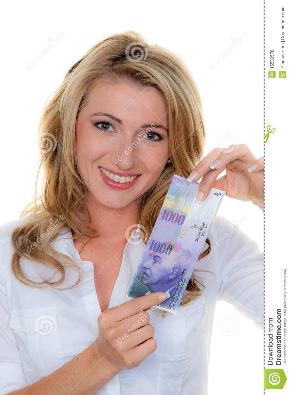 Woman With Swiss Franc Banknotes Stock Photo Image 15589570