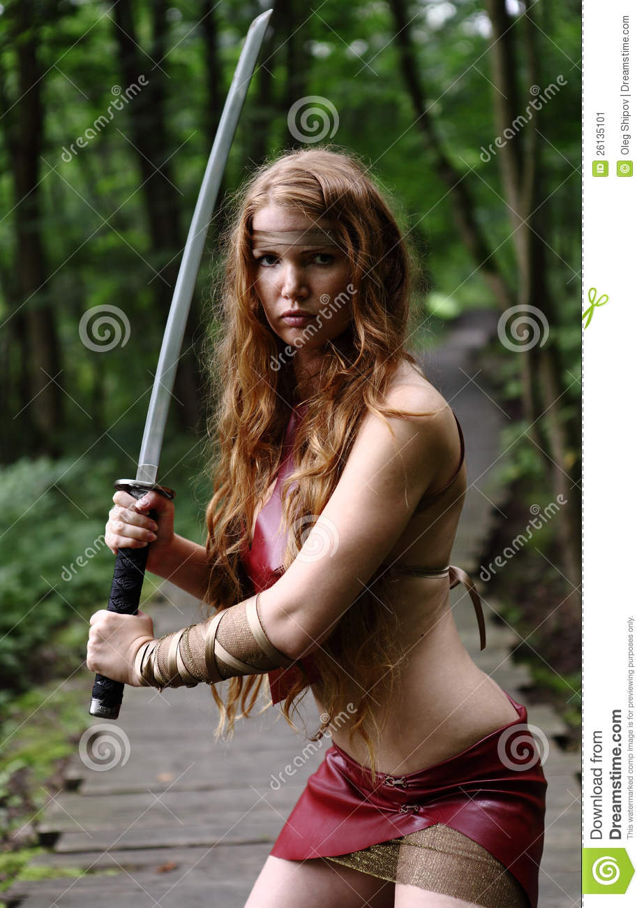 Woman with sword stock image image 26135101