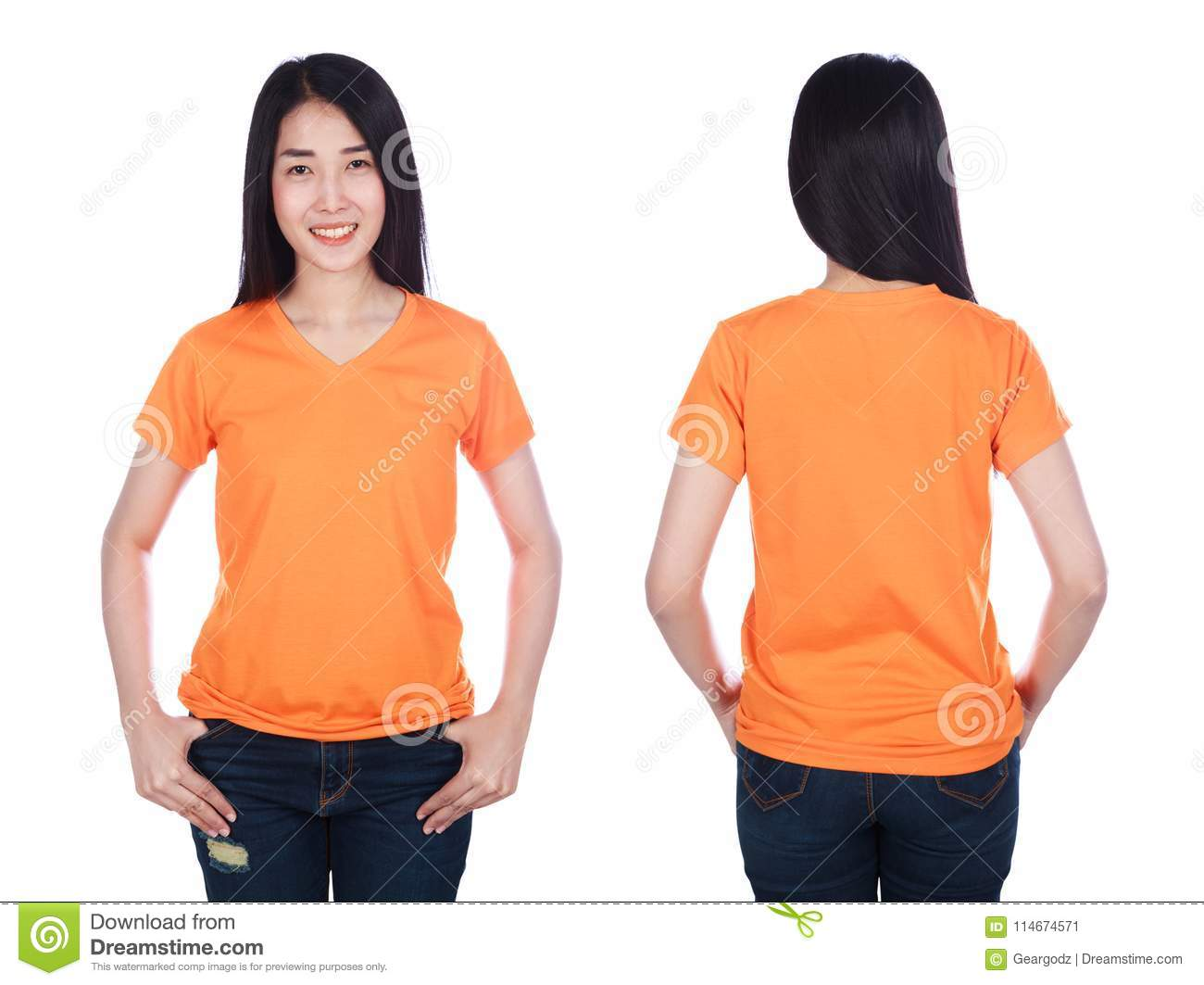 e08b03114 Woman In T-shirt Isolated On White Background Stock Image - Image of ...
