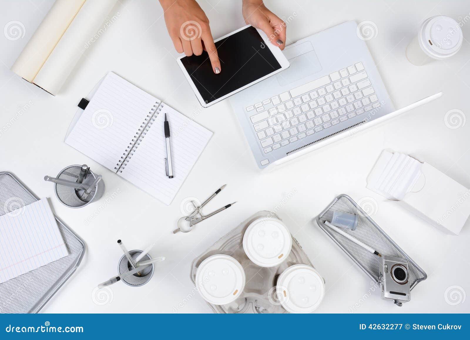 Woman Tablet Computer White Desk Stock Photo Image 42632277