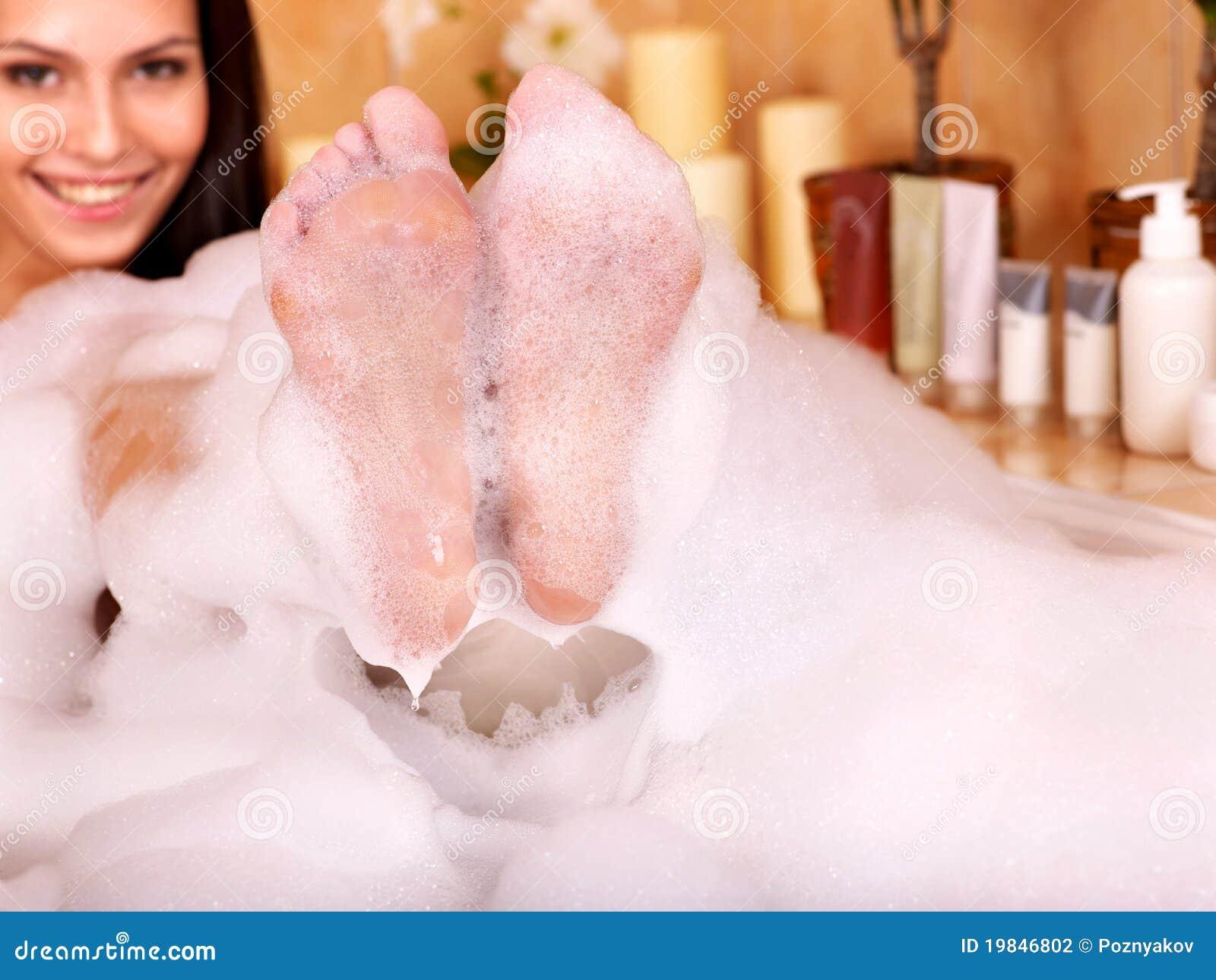 Woman Take Bubble Bath Stock Photography Image 19846802