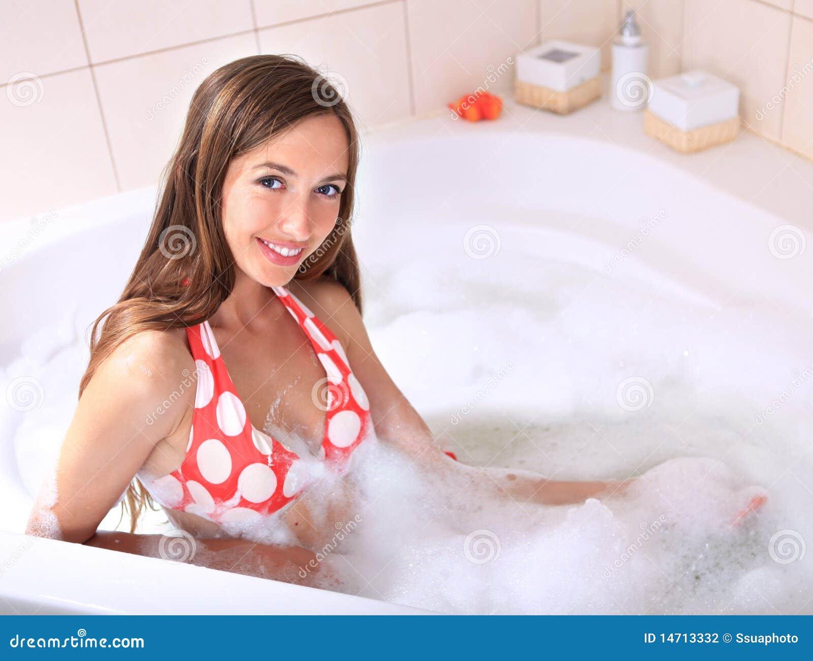 Woman takes tub