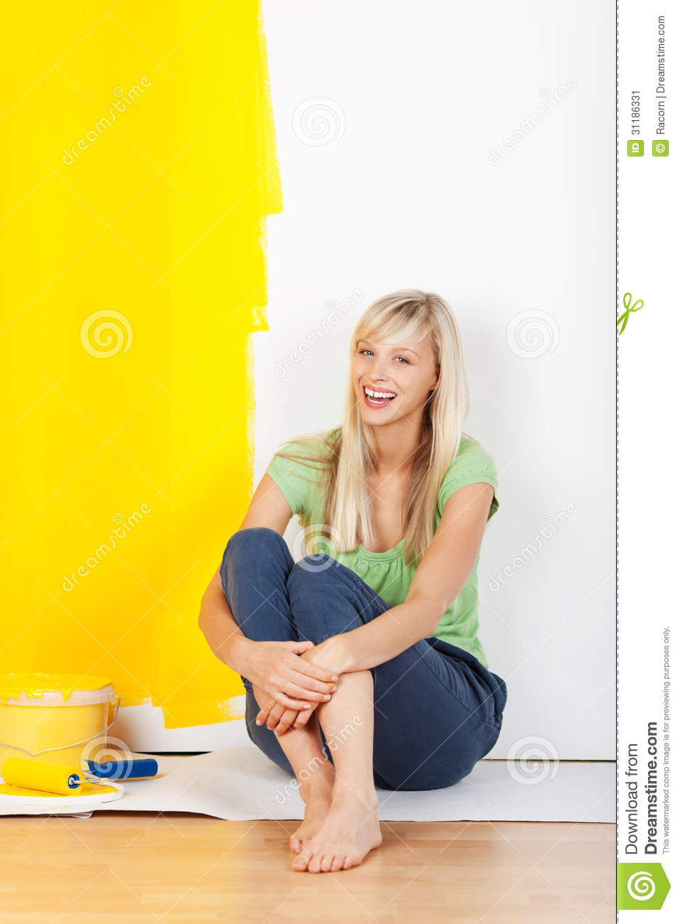 Woman Taking A Break From Painting Stock Image Image 31186331