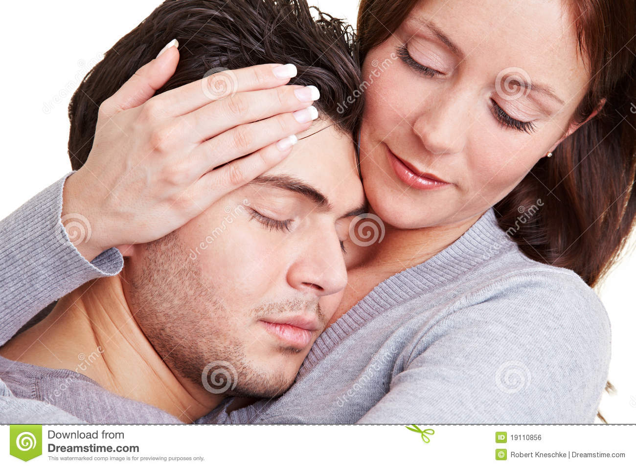Woman Taking Care Of Her Boyfriend Stock Photo Image Of Cuddle