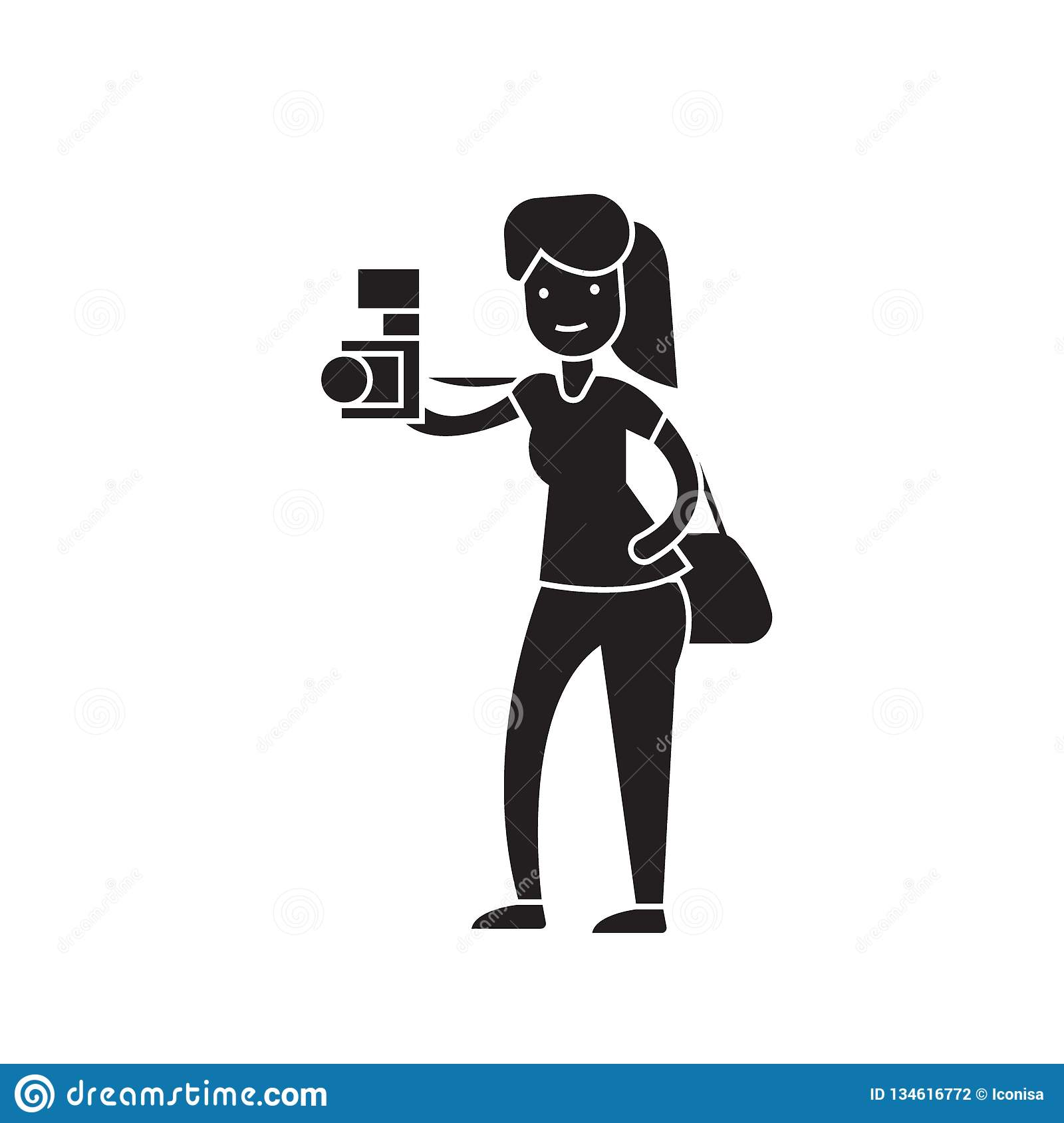 Woman taking a picture black vector concept icon. Woman taking a picture flat illustration, sign