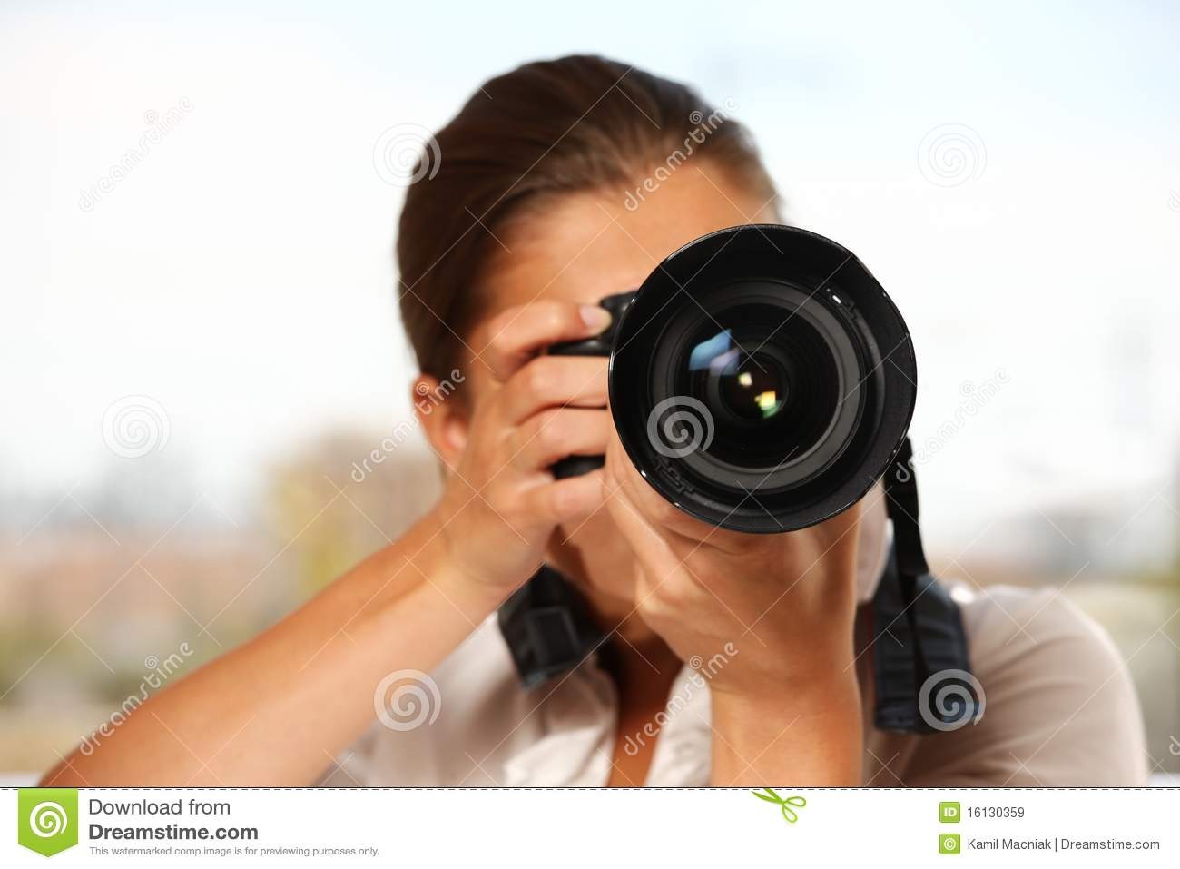 Woman taking pictures stock image. Image of camera, person ...