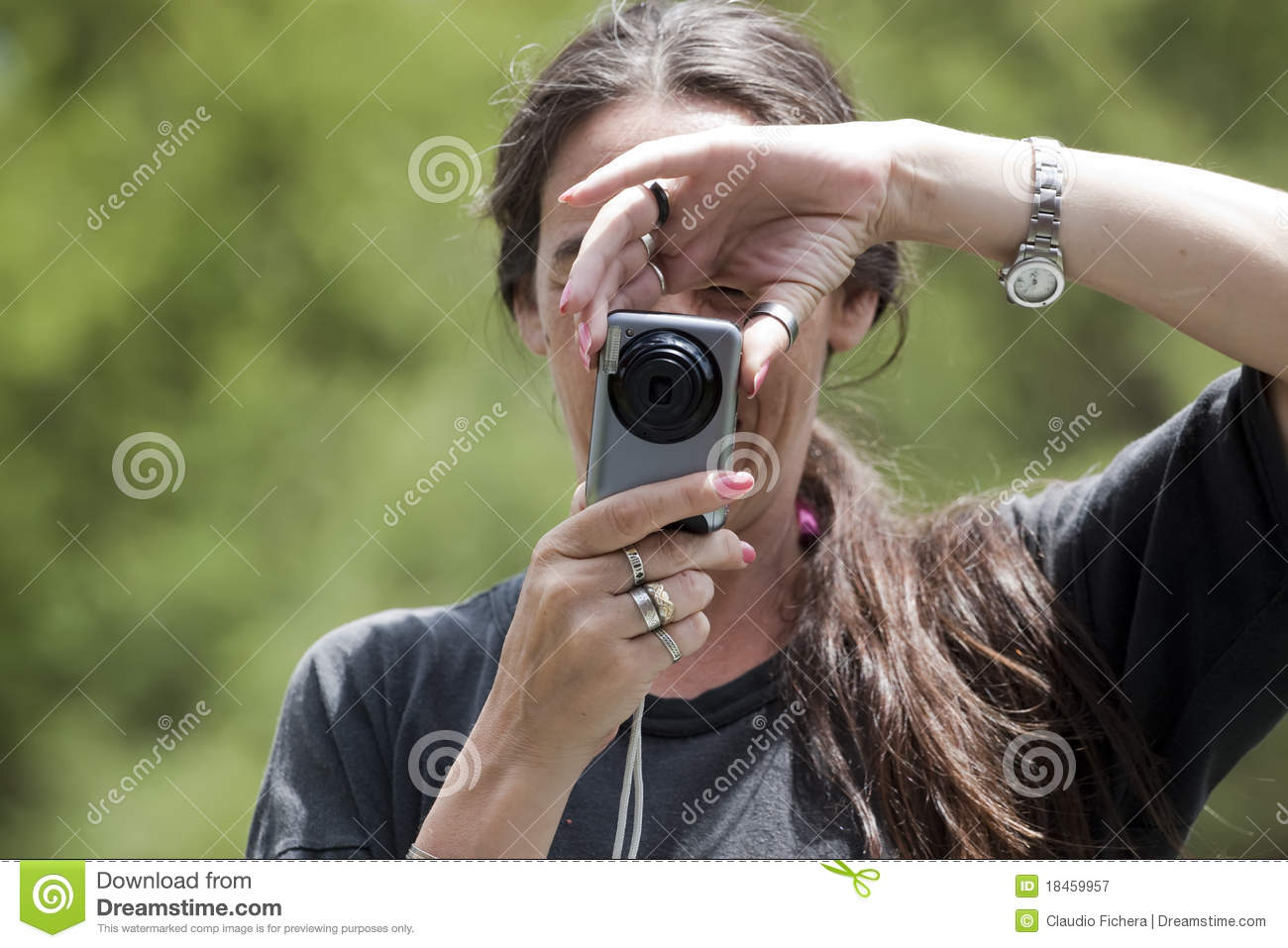 Woman taking pictures stock image. Image of photographer ...