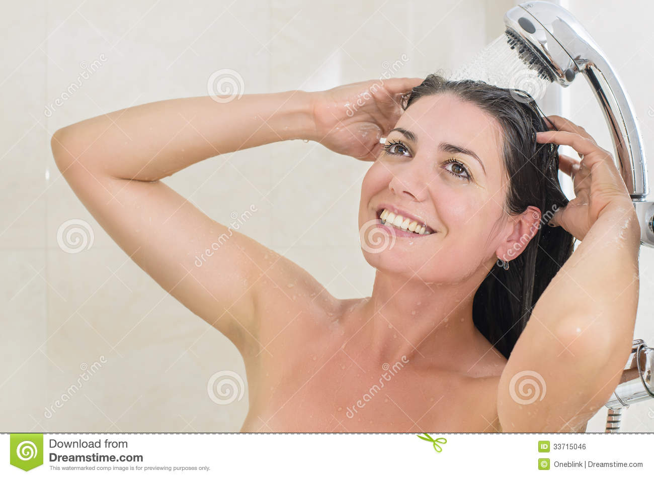 Woman Taking A Shower Royalty Free Stock Image