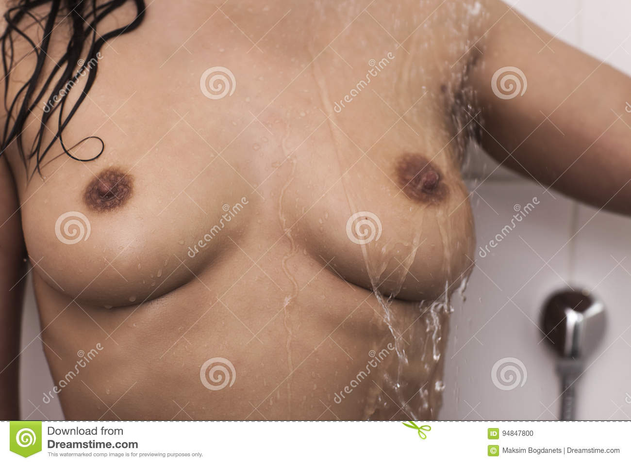 woman taking shower, full naked uncovered body, unrecognizable