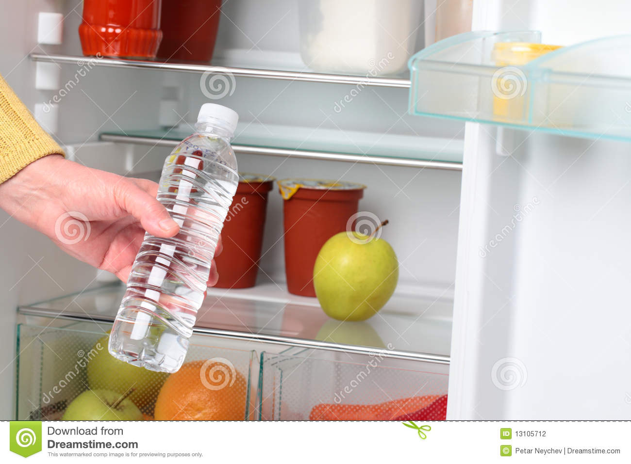 Woman Taking Water From Refrigerator Stock Photo Image