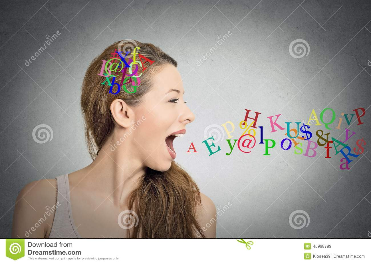 Woman talking, alphabet letters in her head coming out of mouth