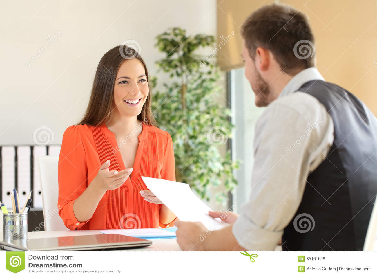 woman talking in a job interview stock photo