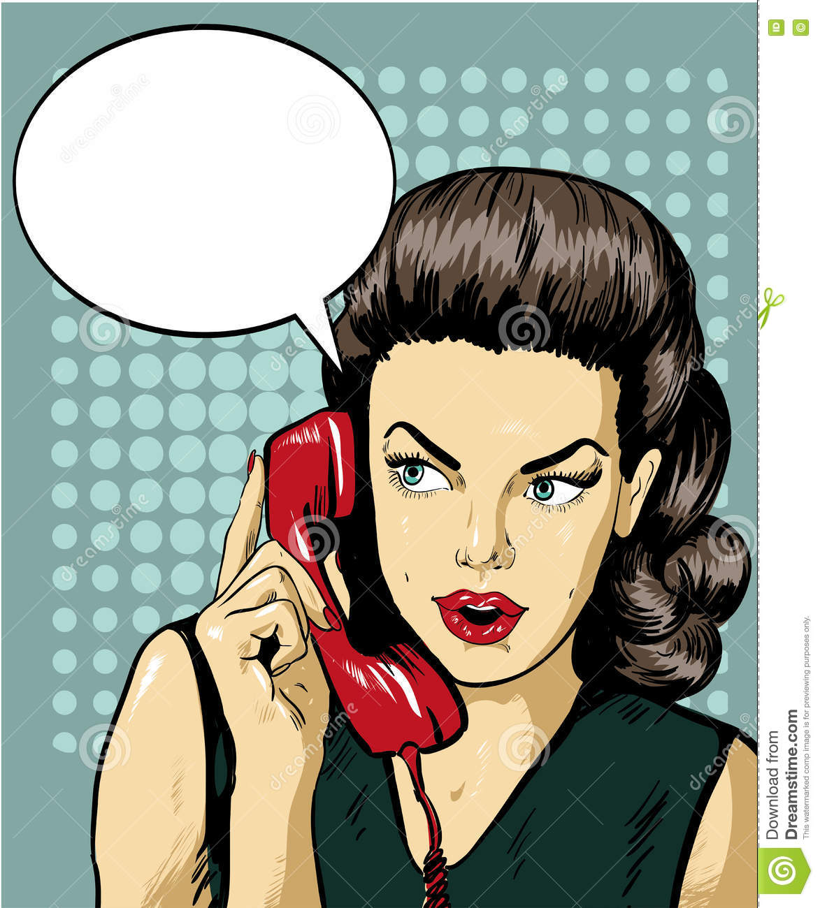 woman talking by phone with speech bubble vector illustration in retro comic pop art style. Black Bedroom Furniture Sets. Home Design Ideas