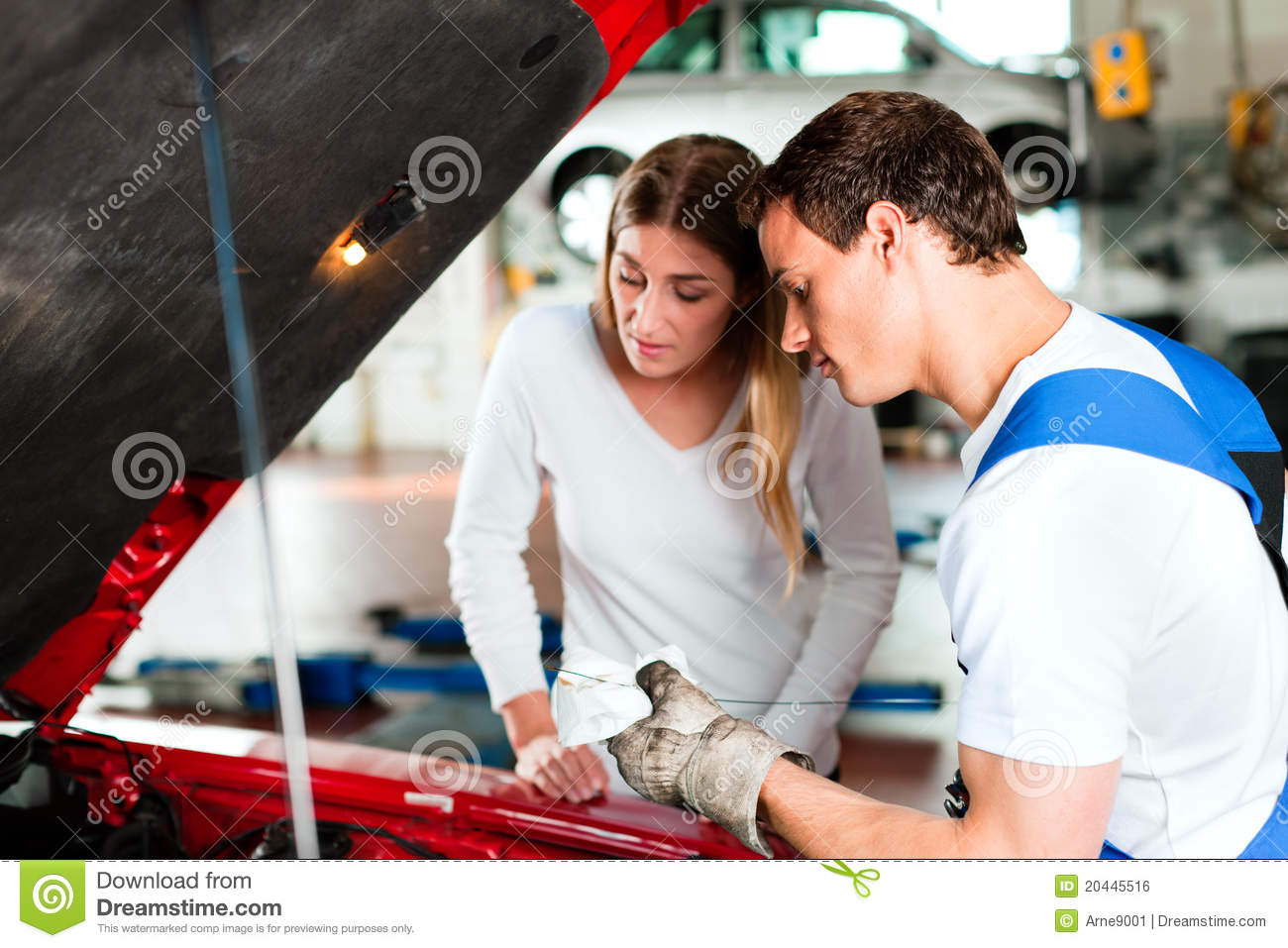 woman talking to car mechanic in repair shop royalty free stock image image 20445516. Black Bedroom Furniture Sets. Home Design Ideas