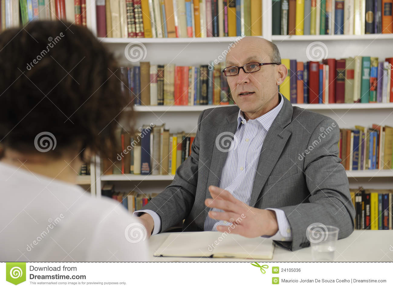 Woman talking to a consultant or lawyer