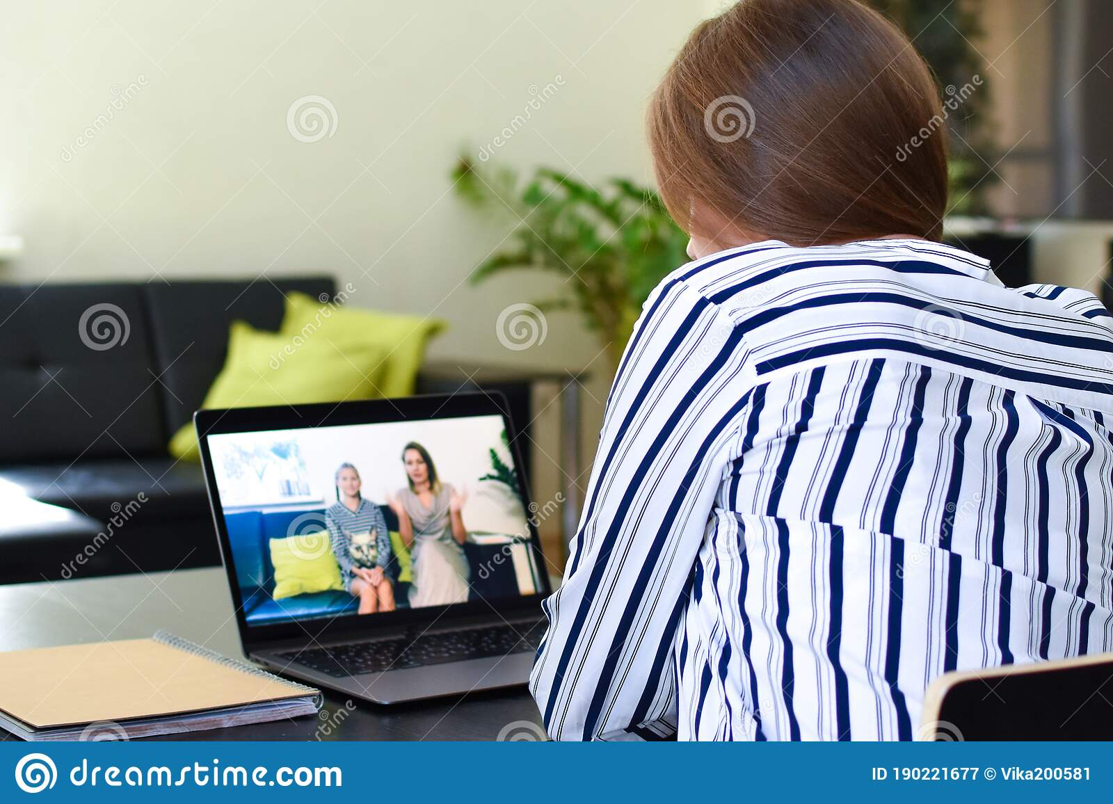 Woman Talking Video Chat With Family Online From Home ...