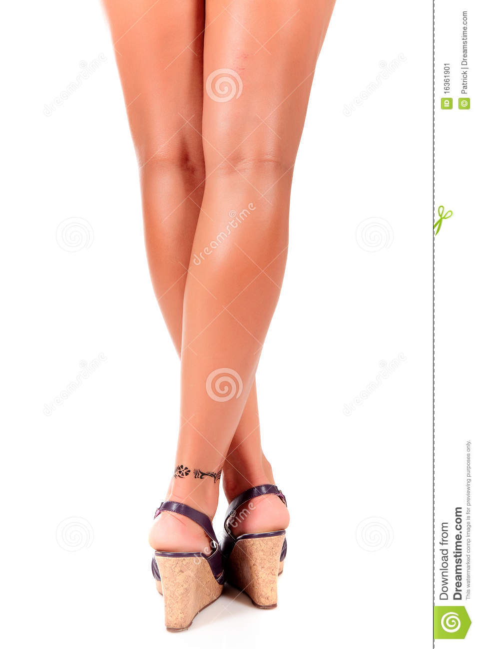 Woman Tanned Legs Back View Stock Image Image 16361901