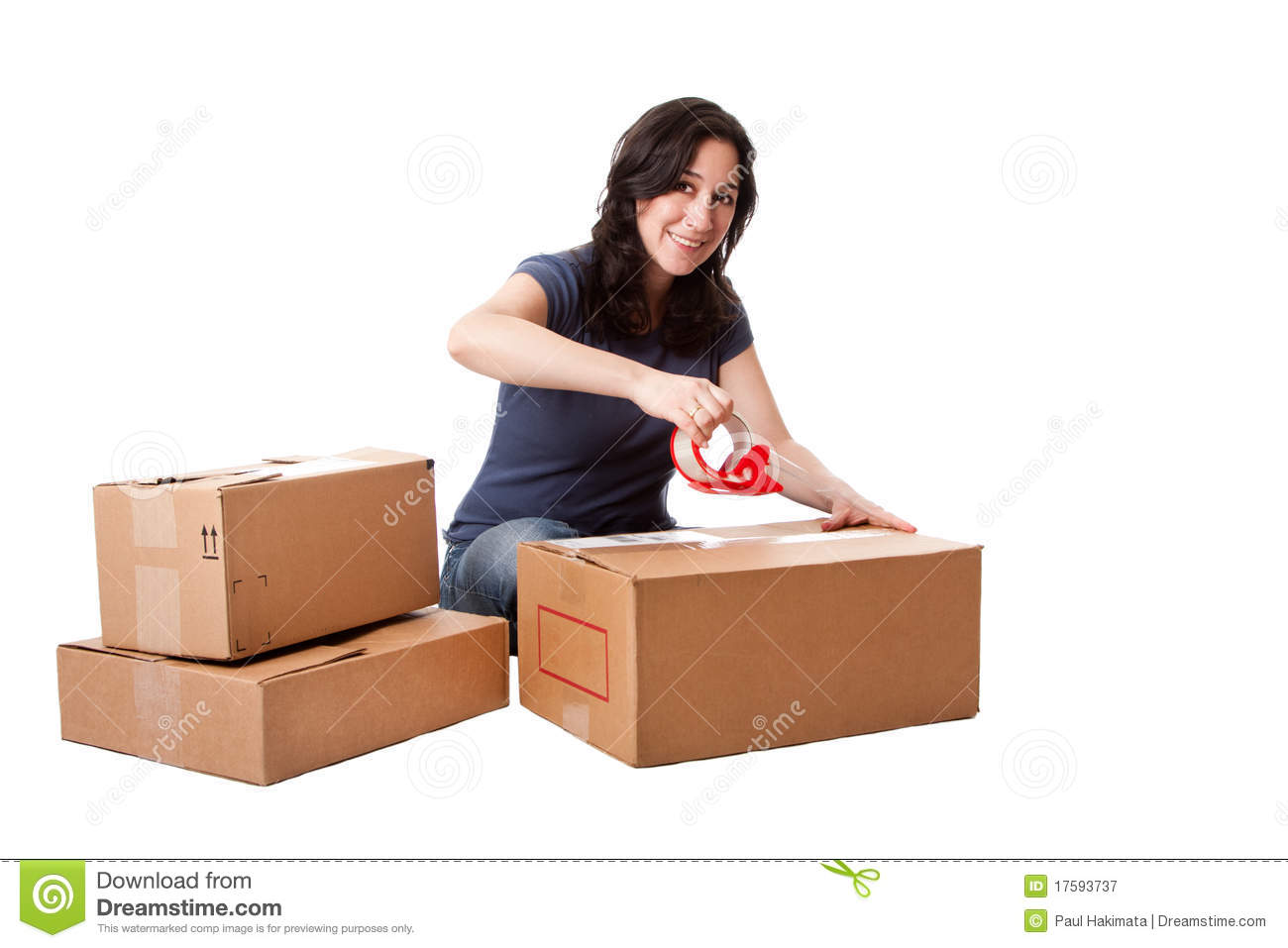 woman taping moving storage boxes royalty free stock photography image 17593737. Black Bedroom Furniture Sets. Home Design Ideas