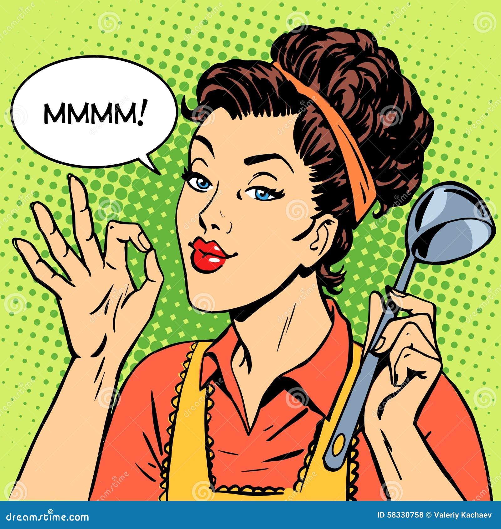 Retro Kitchen Illustration: Woman Tasty Dish Cooking Stock Illustration. Illustration Of Thought