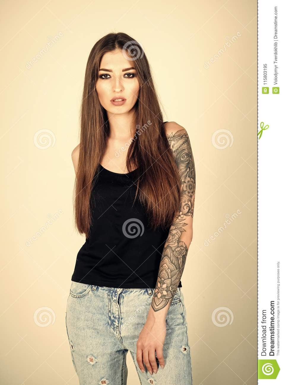 Woman With Tattoo Arm In Jeans Fashion Stock Image Image Of Punk