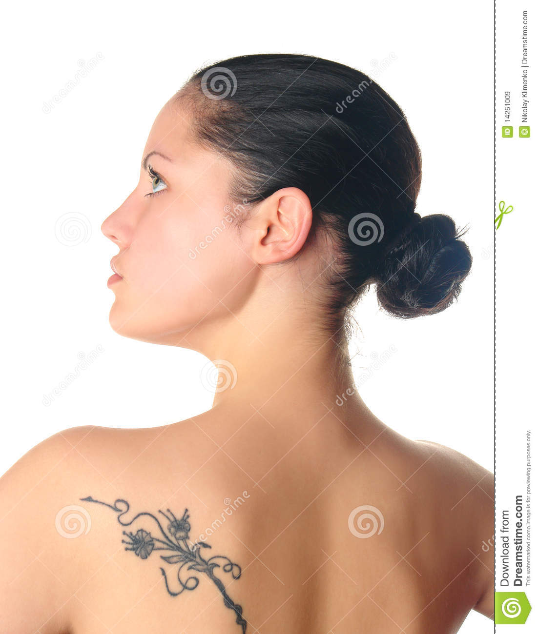Tattoo Woman Photo: Woman With Tattoo Profile Royalty Free Stock Images
