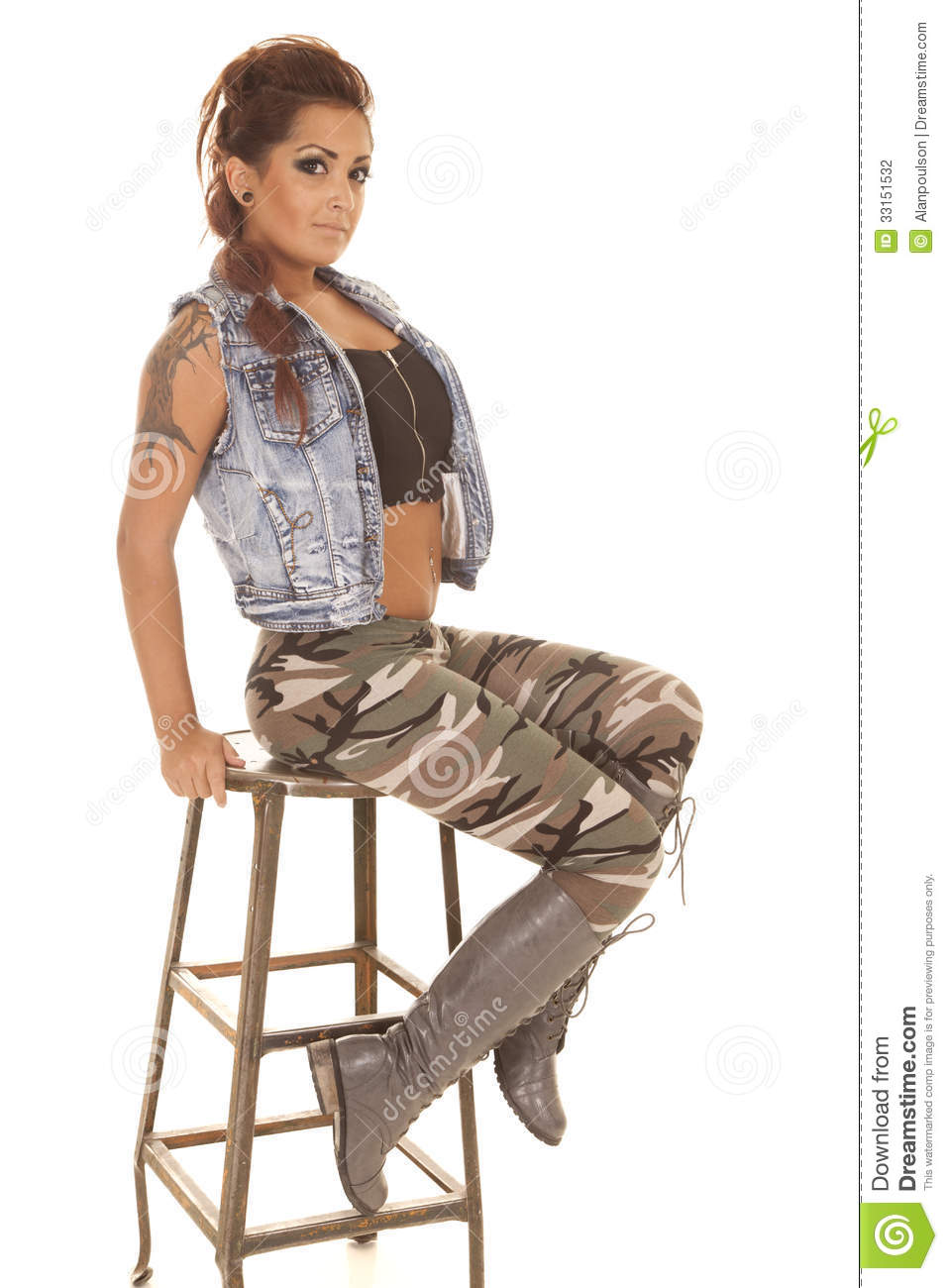 Woman Tattoos Camo Sit Look Stock Photo Image 33151532
