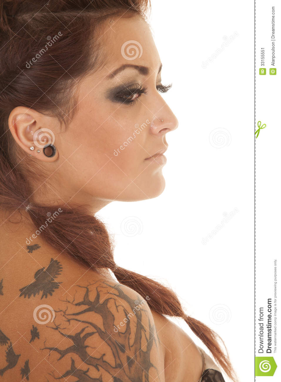 Woman tattoos head close side stock image image 33155551 for Tattoos on side of head