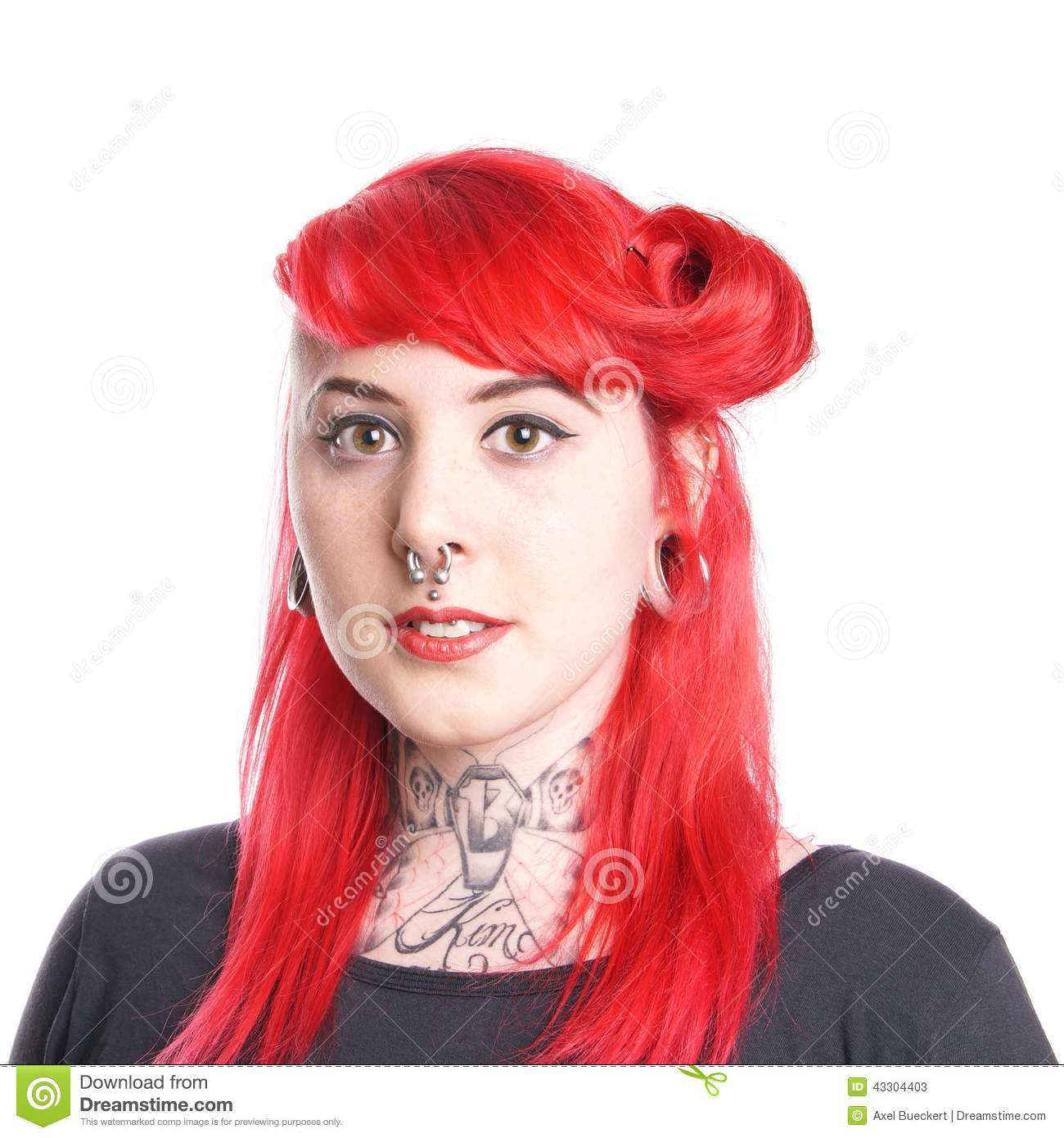 Woman with tattoos and piercings stock image image 43304403 for Woman with tattoos