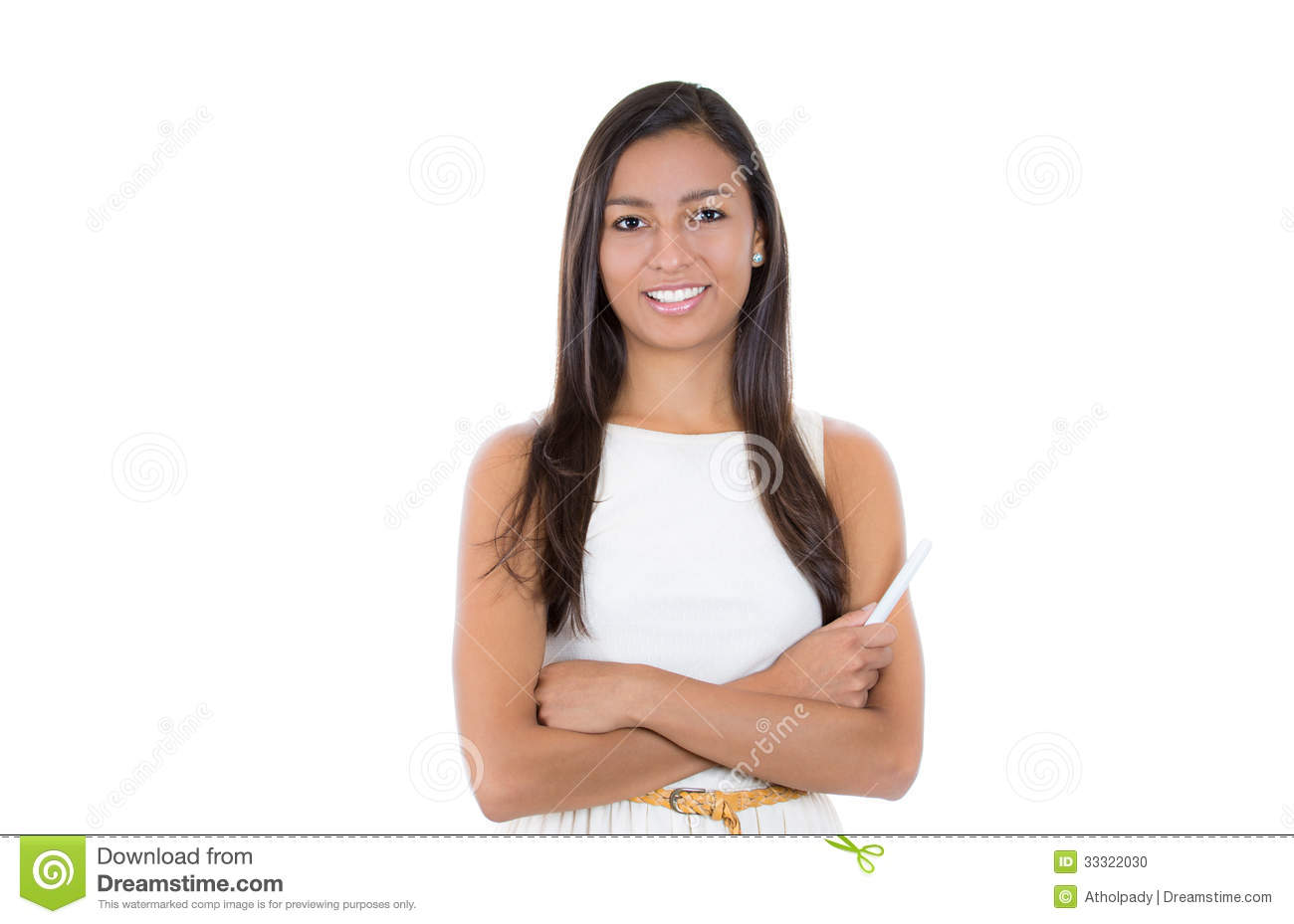 ... confident happy smiling student holding chalk standing in white dress