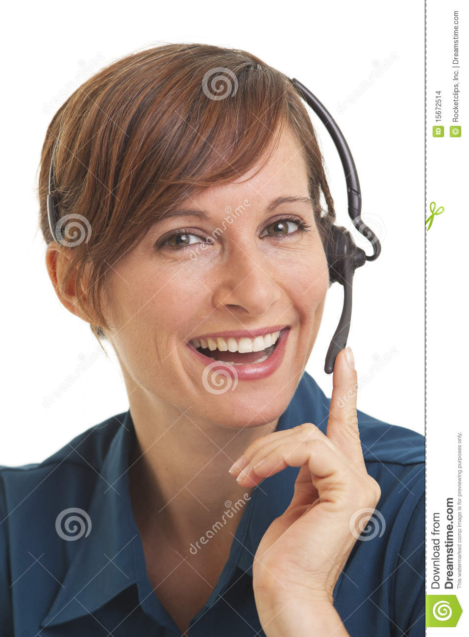 Woman telemarketer with hand on headset