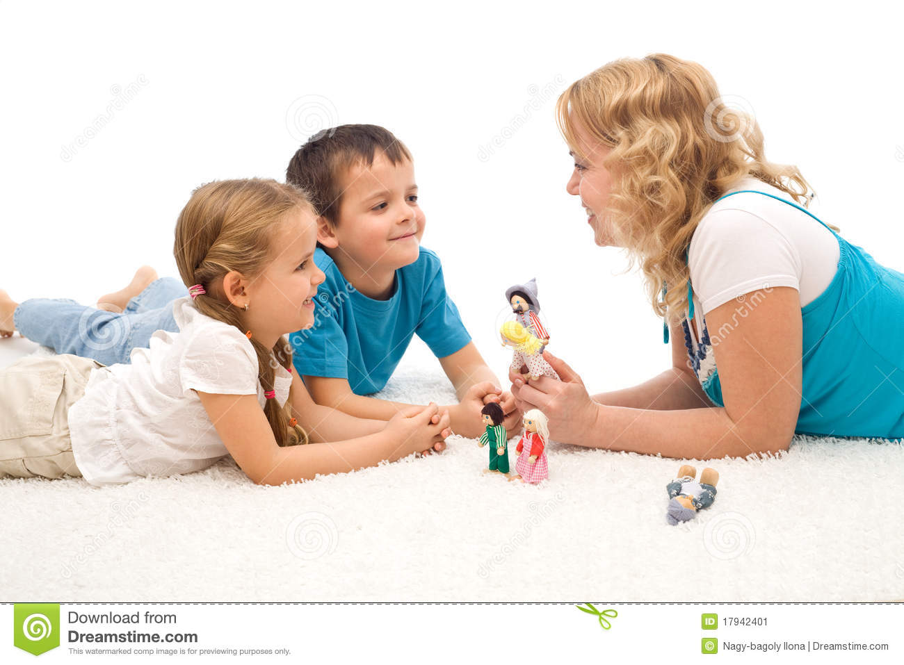 Woman Telling A Story To Her Kids On The Floor Stock Image Image 17942401