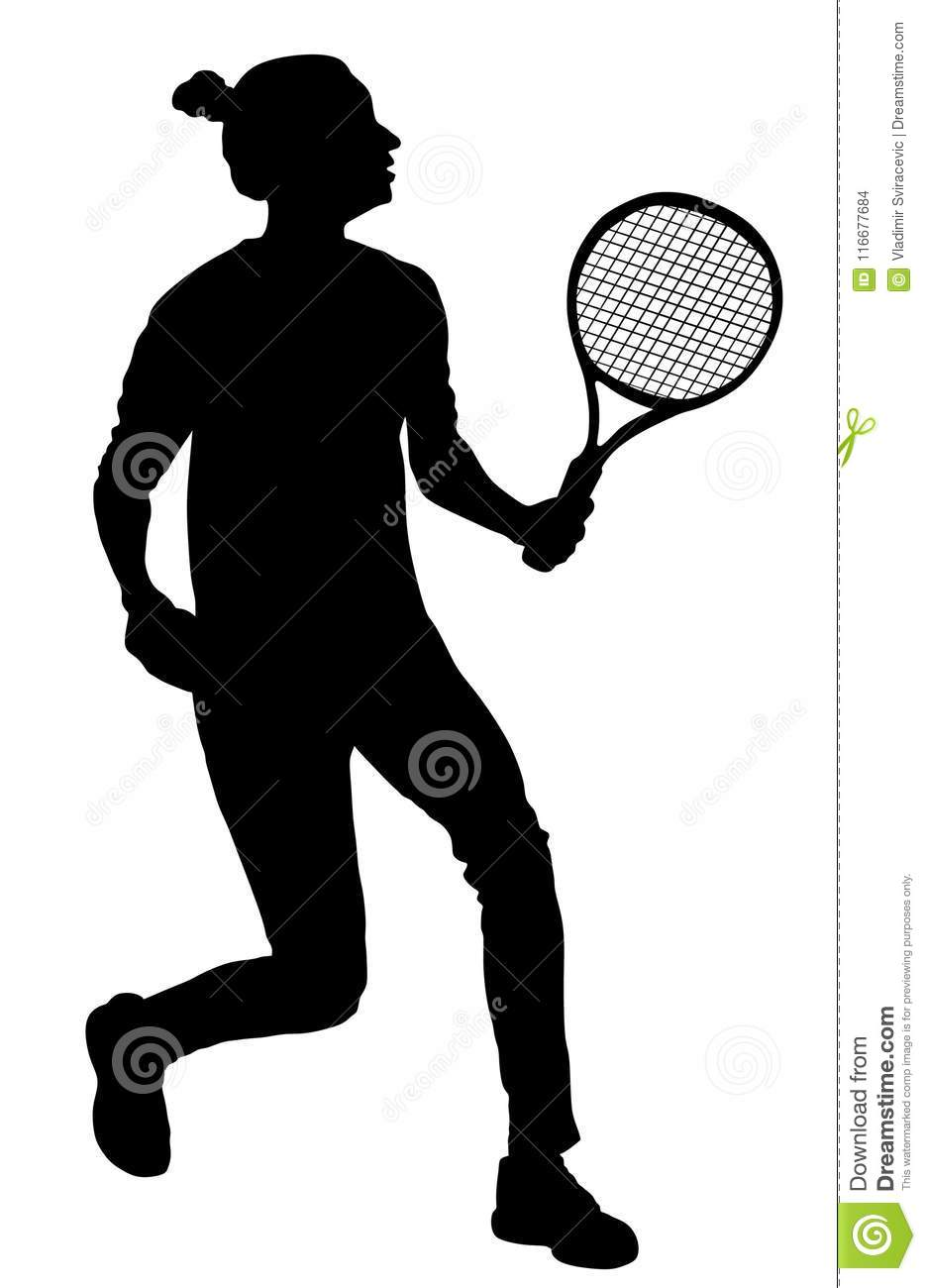 Woman Tennis Player Silhouette  Girl Play Tennis  Active