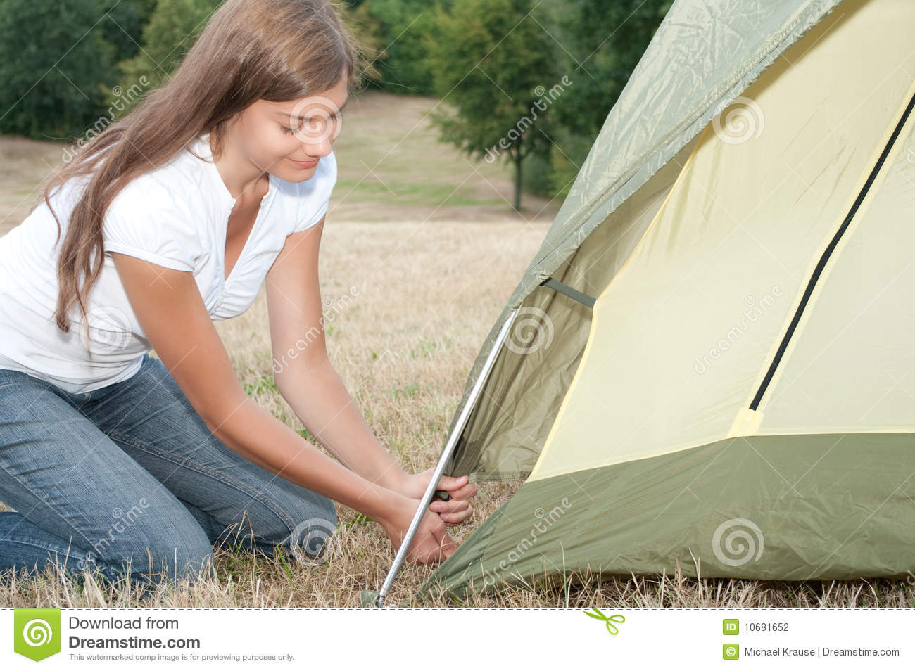 Woman tent c&ing & Woman tent camping stock photo. Image of pursuit camping - 10681652