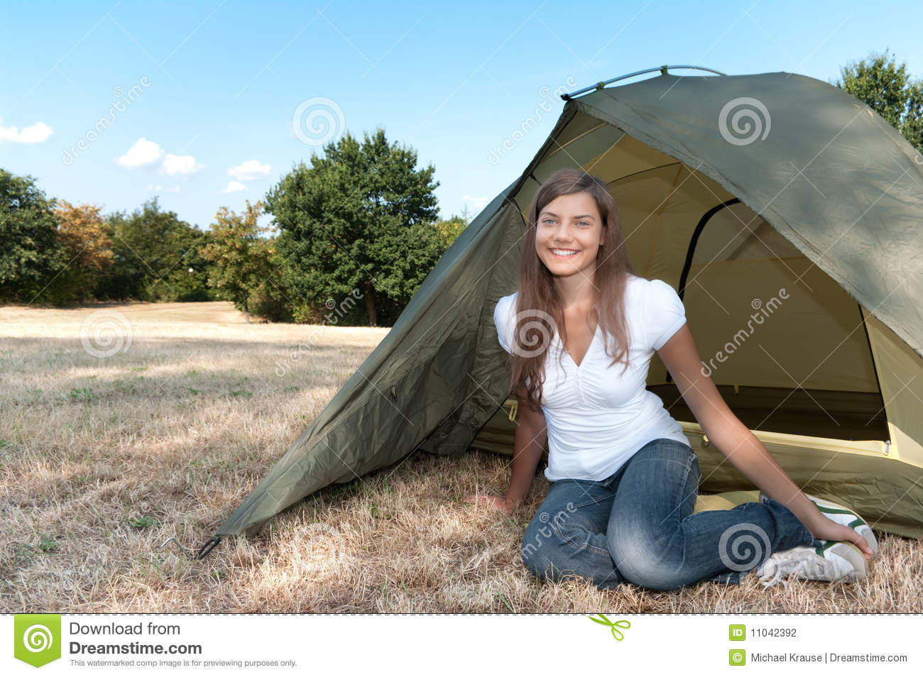 Woman Tent Camping Stock graphy Image
