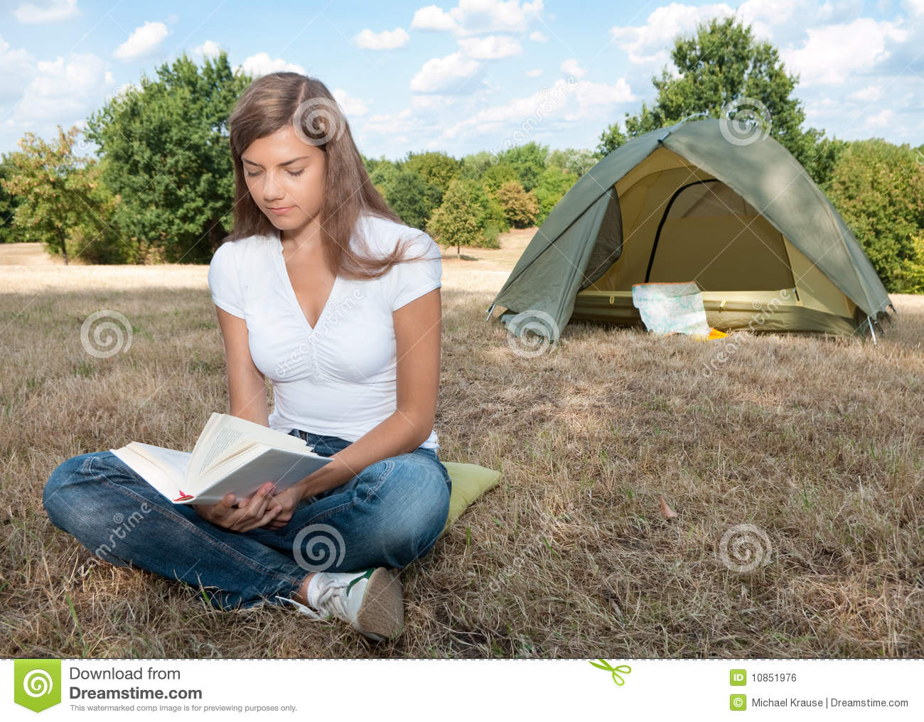Woman tent c&ing book  sc 1 st  Dreamstime.com & Woman tent camping book stock photo. Image of portrait - 10851976