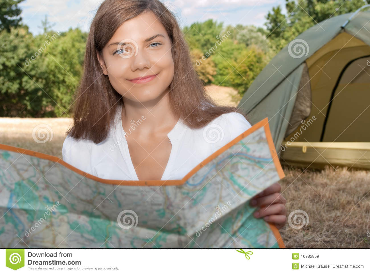 Woman Tent Camping Map Royalty Free Stock Images - Image: 10782859