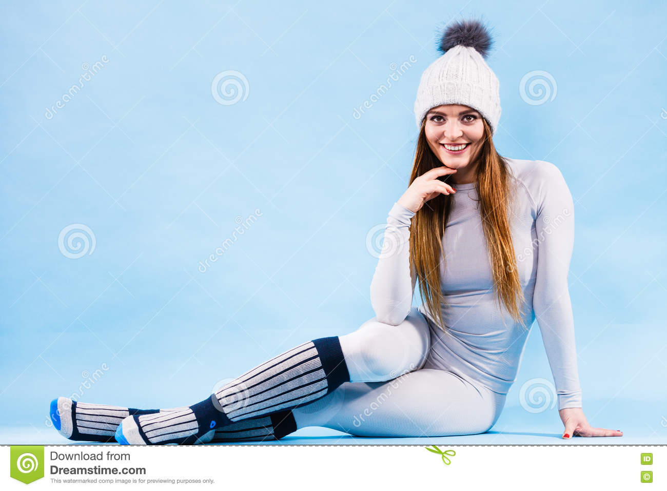 Woman In Thermal Underwear Top Ang Leggings Stock Photo Image Of Clothing Fitness 76674302