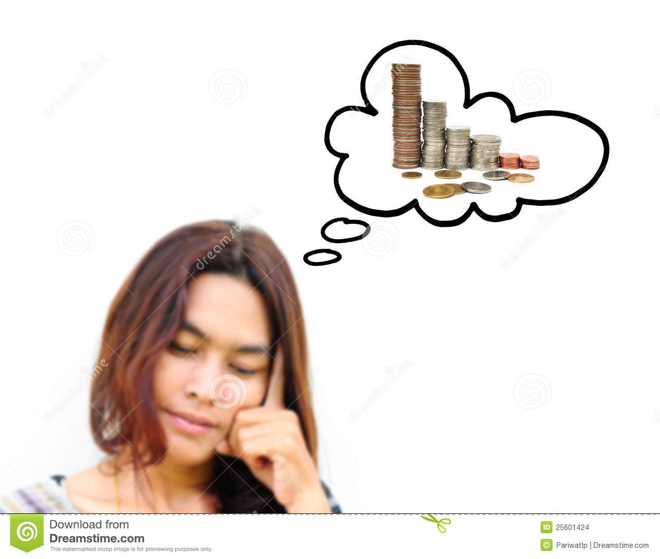 Woman Thinking To Money Stock Images Image 25601424