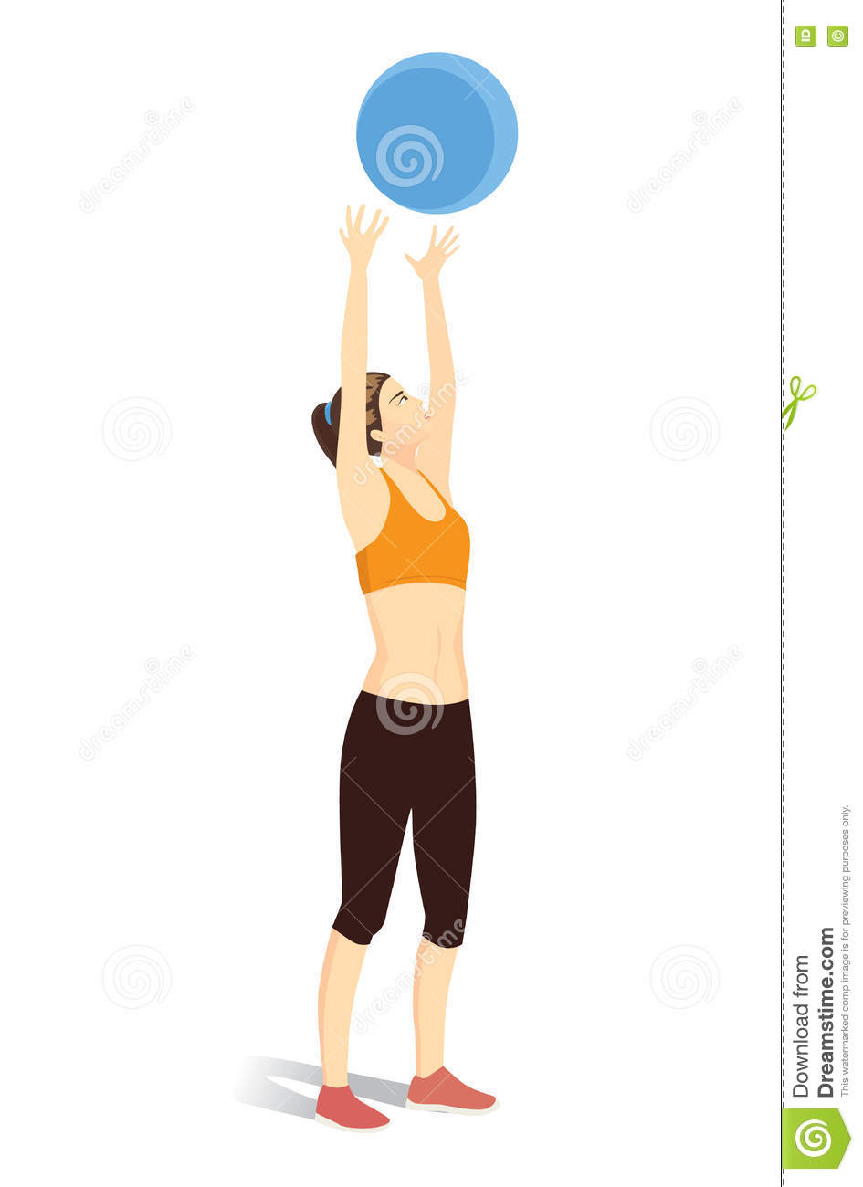 Woman throwing fitness ball into the air.