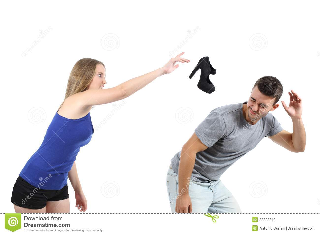 Woman throwing a heel shoe to a men isolated on a white background