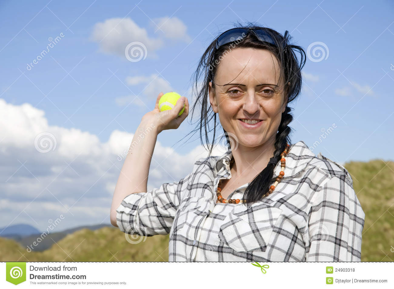 Woman throwing tennis ball stock photo. Image of happy ...