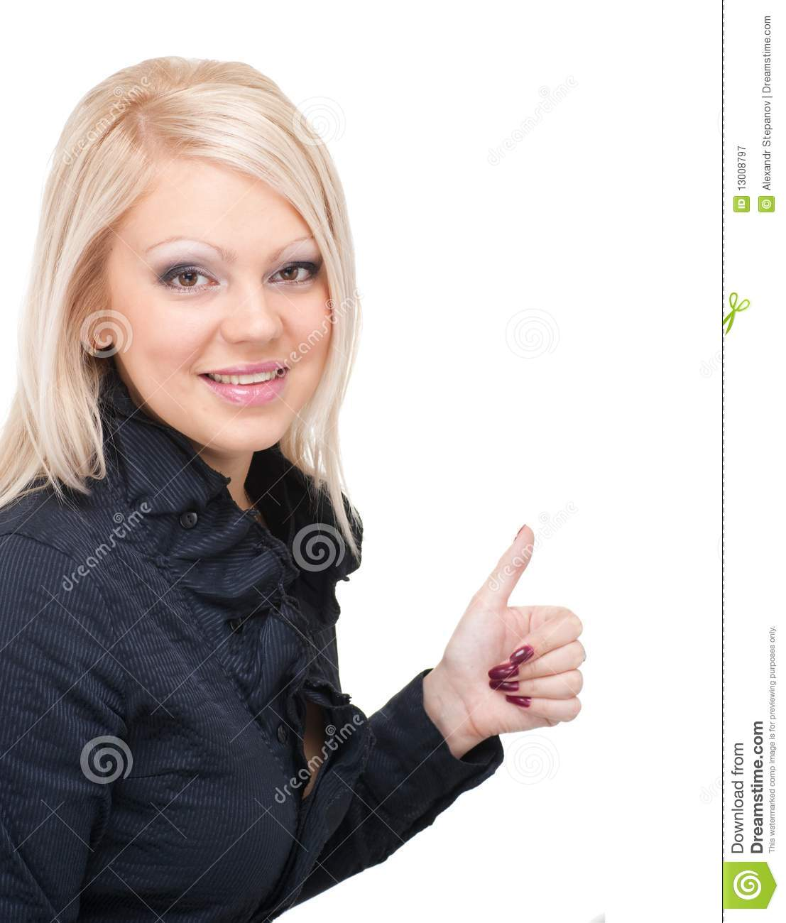 Woman With Thumbs Up Gesture Stock Image - Image of female