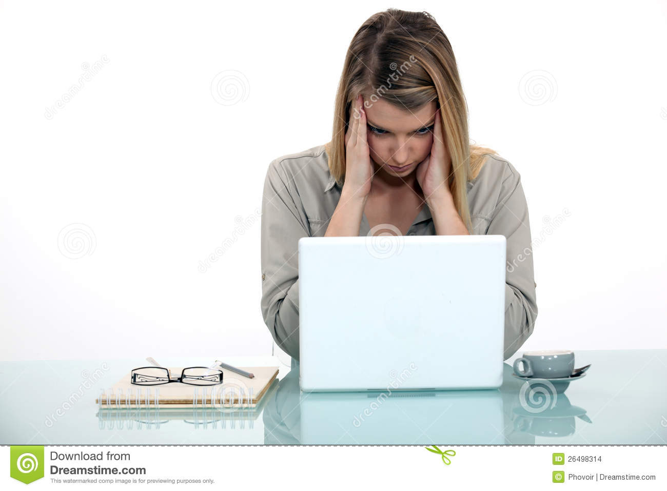Woman Tired Of Working On Her Laptop Stock Images Image