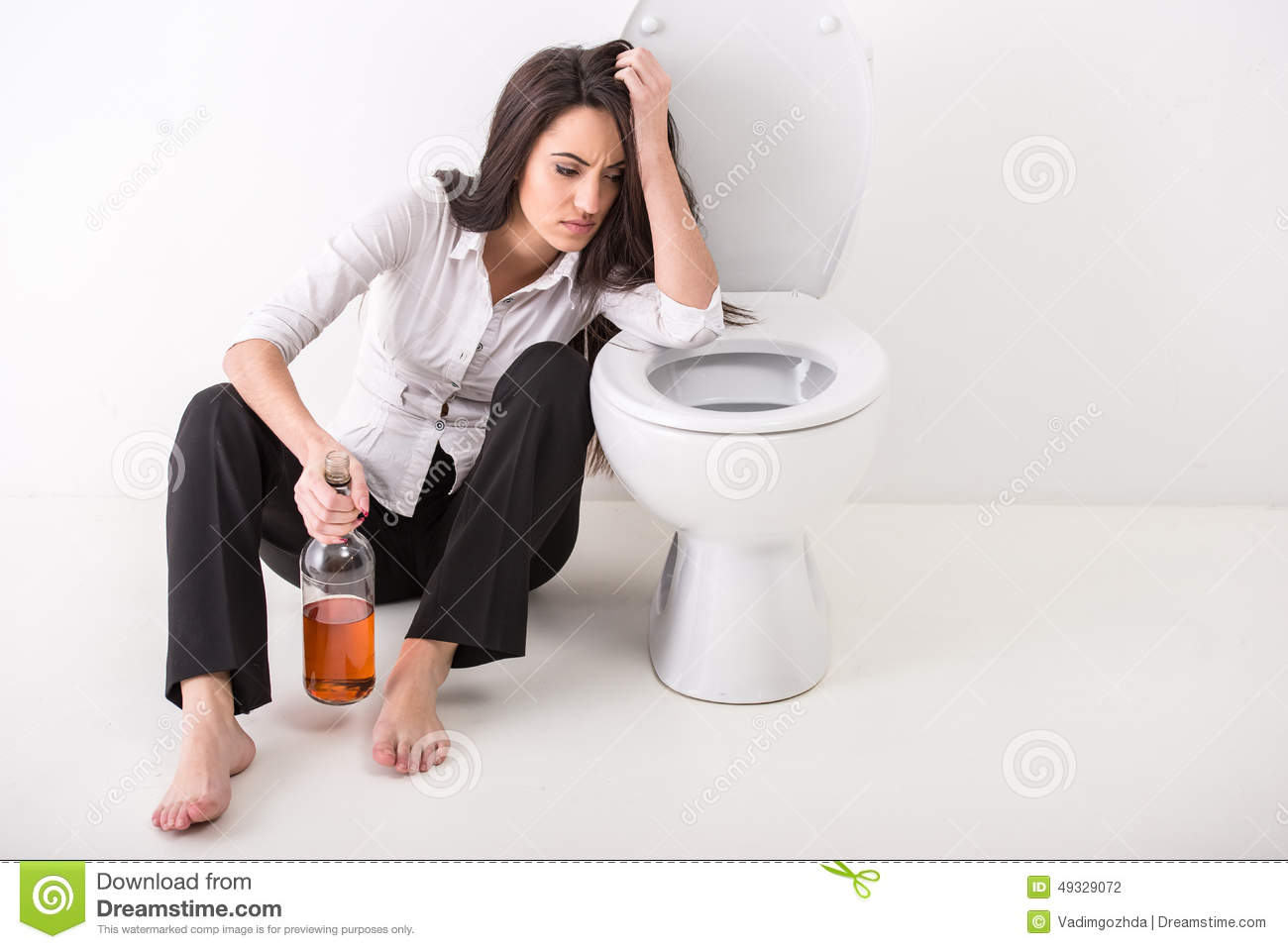 Woman With A Tablet Pc In A Toilet Stock Photo - Image of