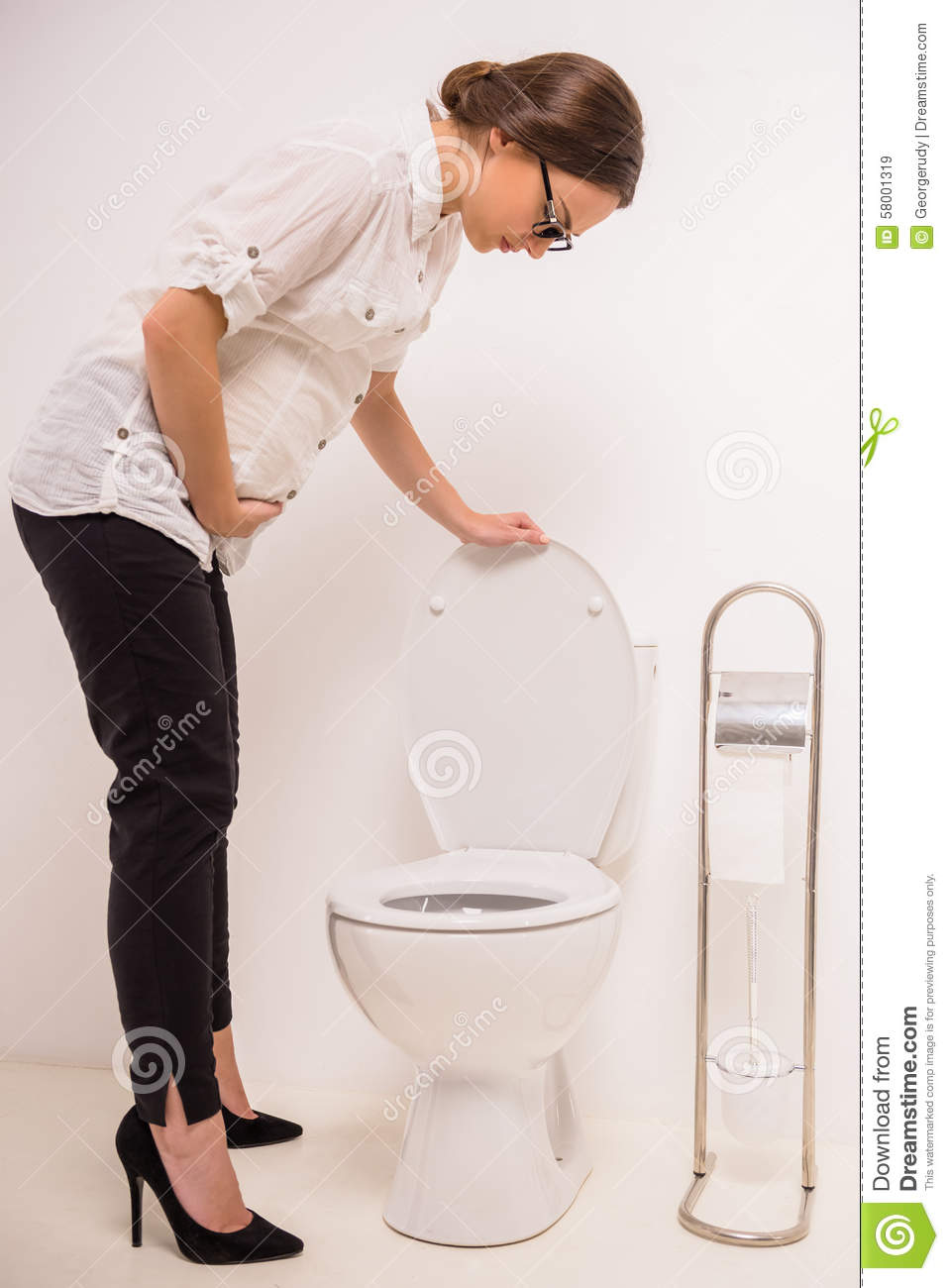 Woman in toilet stock image. Image of girl, problem