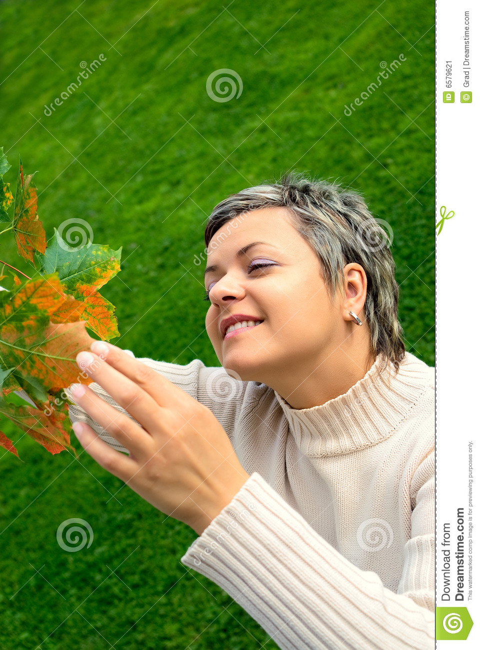Download Woman touching autumn leaf stock image. Image of portrait - 6579621